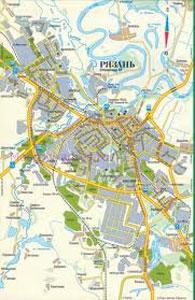 Автомобильная карта города Рязань, схема проезда транспорта.