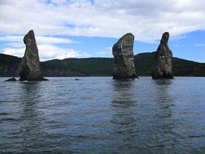 Three Brothers rocks. Avacha Bay